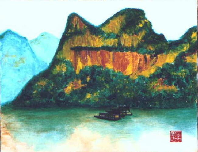 Three Gorges, Yangtze River China by Tom Lacey 1998