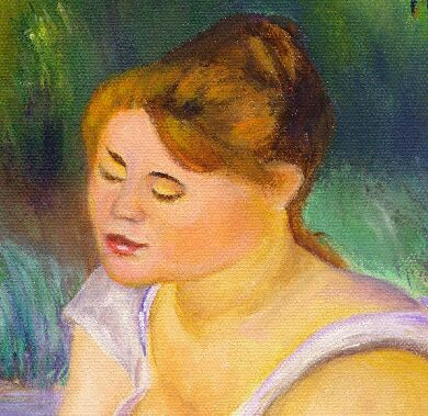Detail of my Reproduction of Renoir: A Girl Wiping Her Feet